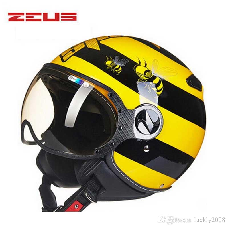 yellow bee electric motorcycle half face helmet , ZEUS 3/4 scooter motorbike motorcross helmets for women and men M L XL XXL