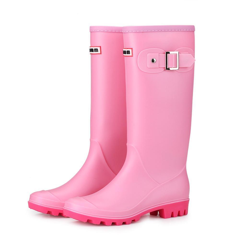 Mujeres resistente al aceite del bloque del talón dedo del pie redondo impermeable antideslizante extraíble en caliente forrado Wellington botas de lluvia de alta Invierno hebillas