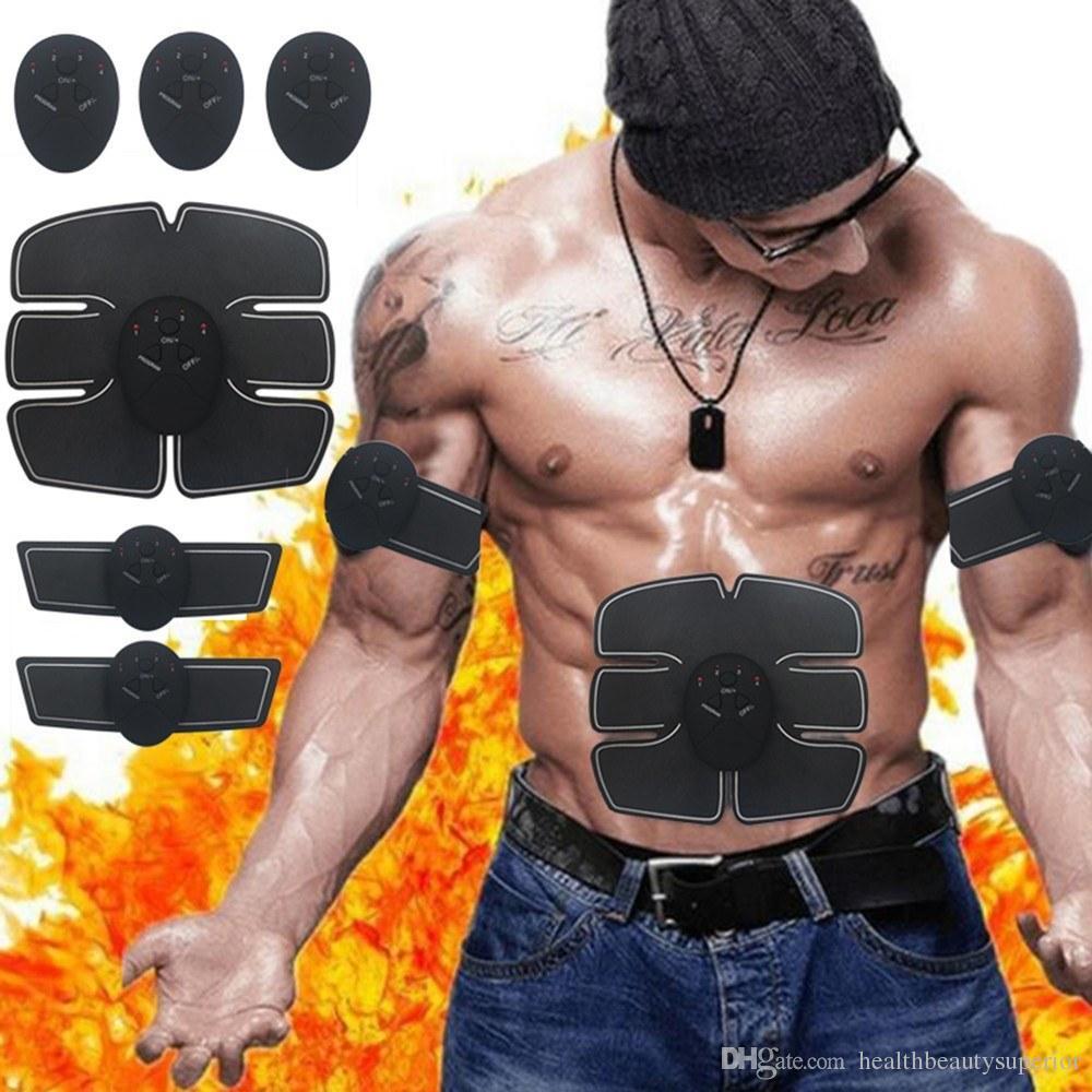 عضلات البطن الكهربائية تحفيز التمارين المدرب الذكية لياقة الجمنازيوم ملصقات الوسادة التدريب البدني مدلك حزام للجنسين