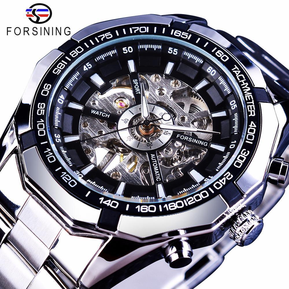 Forsining 2017 argento acciaio inossidabile impermeabile Mens Skeleton Orologi Top Brand di lusso trasparente meccanico orologio da polso maschile C19011001