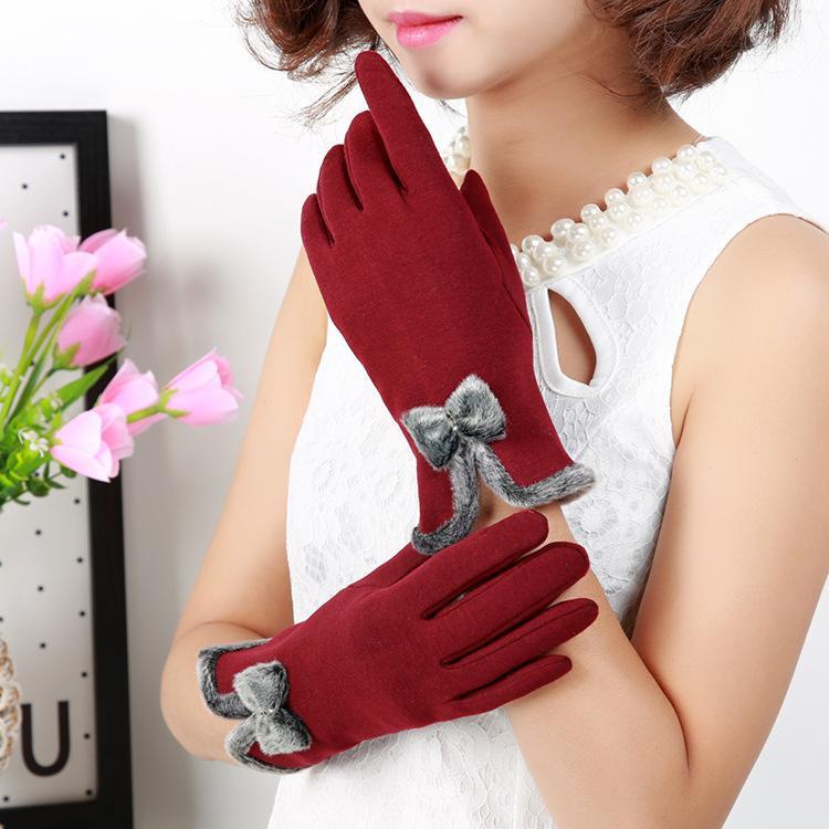 Fashion-2017 Новый женский сенсорный экран перчатки с милой кнопкой лук толстый теплый полный палец ветрозащитные варежки 5 шт. / Лот