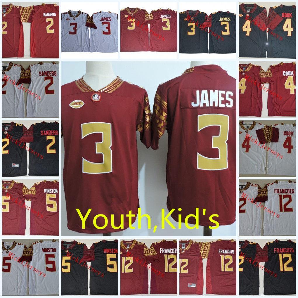 Juventud NCAA FSU Derwin James College Camisetas de fútbol niños Deion Sanders Jameis Winston Deondre Francois Florida State Seminoles Jersey S-2XL