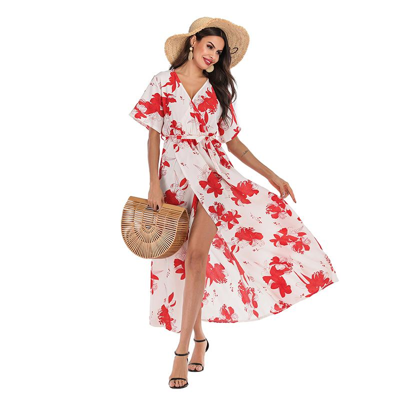 2019 New Arrival Womens Designer Dress Casual Red Floral Print Chiffon Dress High Quality Beach Skirt V Neck Sexy Short Sleeve Dress