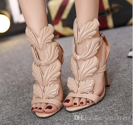 2accd4a3f8a63 Design Wings Women Sandals Silver Nude Pink Gold Leaf Strappy High Heels  Gladiator Sandals Women Pumps Shoes Ankle Strap Dress Shoes Silver High  Heels ...