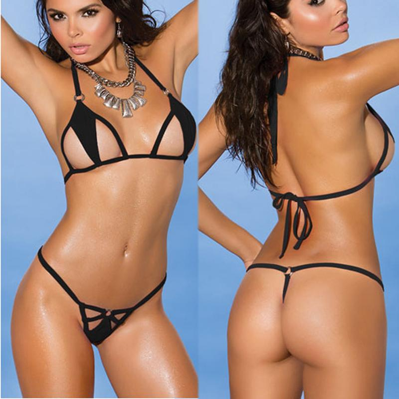Sexy Pink/Black String Micro Bikini Brazilian Mini Bikinis 2018 Women Suth Biquini Swimsuit string thong Bathing Suit HW1672