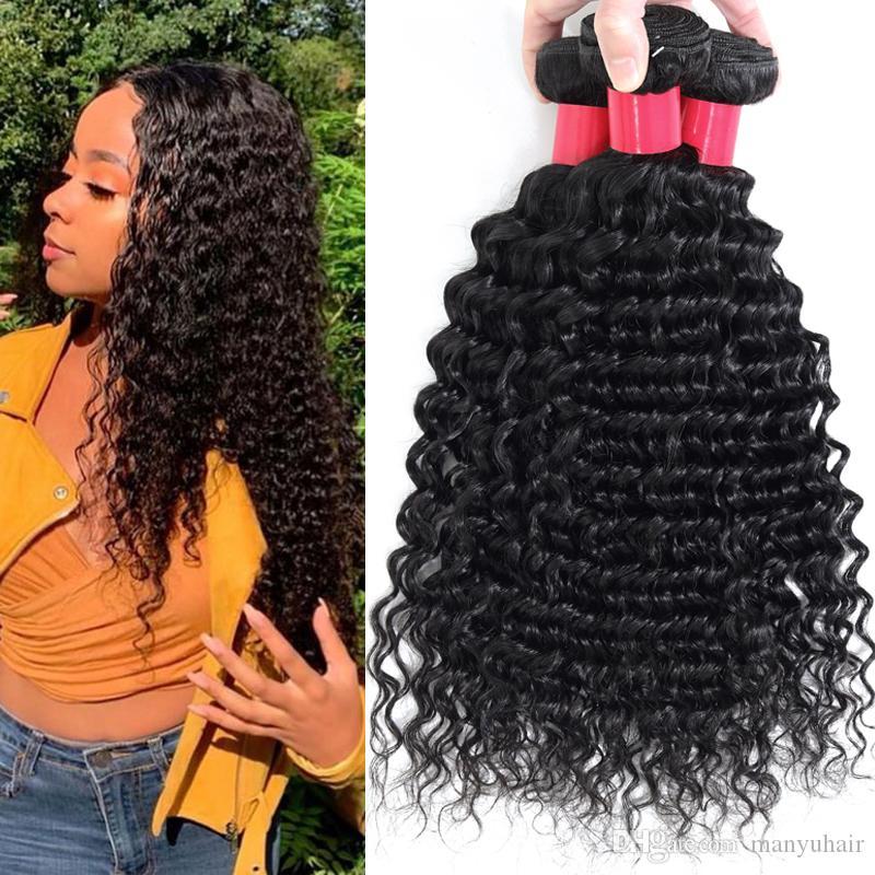 برازيلية الشعر البشري حزم لحمة 100٪ غير المجهزة عميق مجعد موجة عذراء الإنسان الشعر نسج 3 حزم الماليزية بيرو الشعر الهندي التمديد
