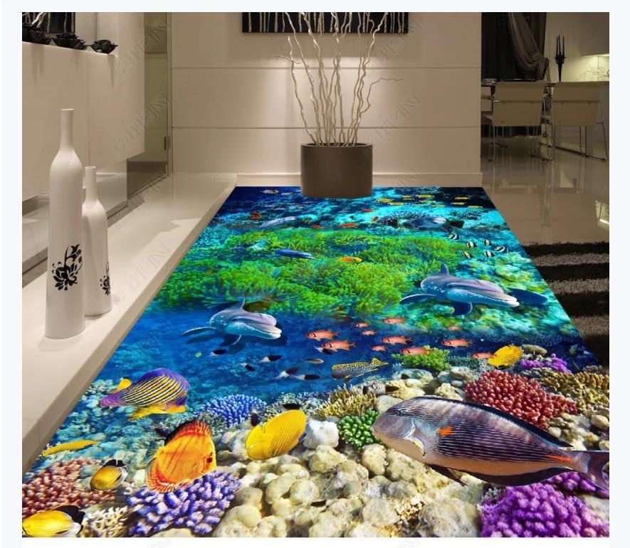 Personalizado 3D autoadhesivo mural foto pintura de fondo de pantalla Ocean World Dolphin Baño Cocina 3D Azulejos de piso a prueba de agua