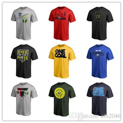 Camisetas de fútbol MLS de los hombres Camisetas de fútbol de estilo nuevo Camisas de moda con camisetas de color negro rojo azul 2019 tops y camisetas de algodón Impresión de logotipos 3D