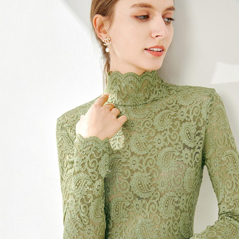 New Lace 2020 Women Collar Stand Spring Europe Long Sleeve Sexy Hollow Out Shirt T Elegant Tops Female Slim Autumn Shirts Tees Xmtgv