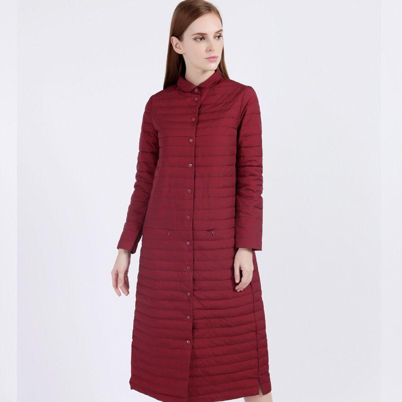 Mulheres para baixo casaco fino pato branco para baixo jaqueta feminina longo casaco leve feminino inverno corpo branco pato joelho casaco