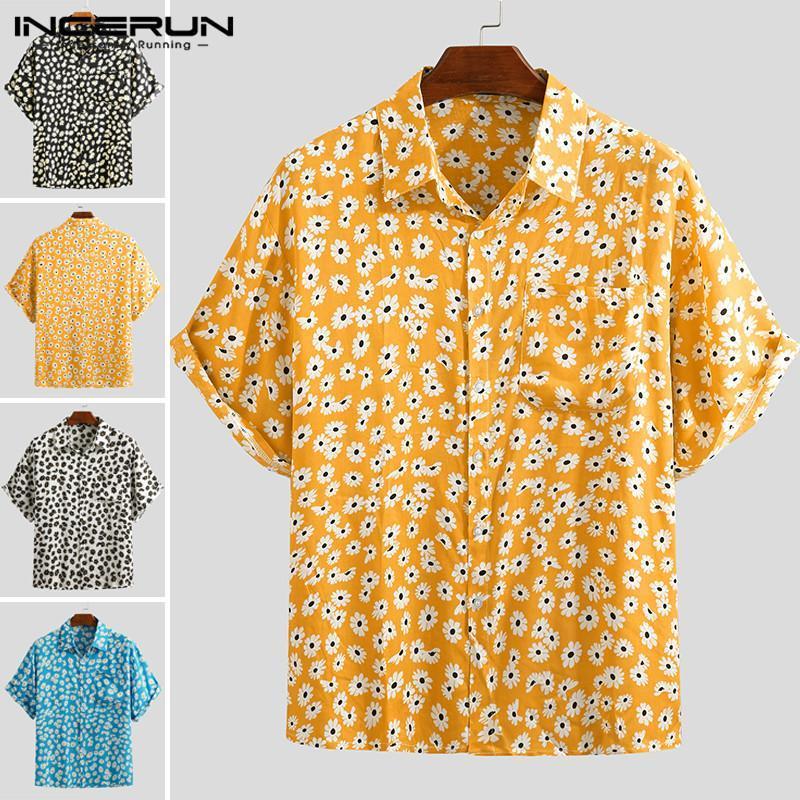 2020 hombres del verano Hawaiian Camiseta de manga corta de Calle Flor Imprimir la blusa del algodón de la solapa de la playa Casual Camisa Masculina INCERUN