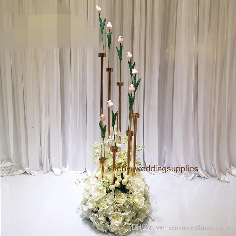 Hot selling gold metal flower arrangement stands /flower backdrop /flower wall stand for wedding table backgroup decoration senyu0453