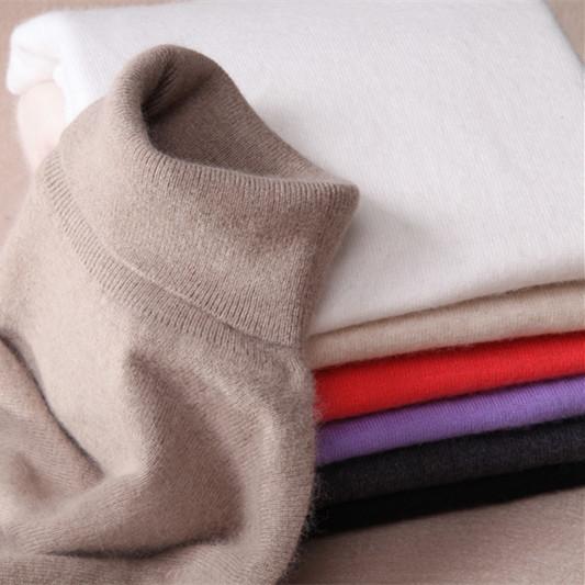 Alta calidad pura de cachemir jersey de cuello alto suéter de cuello de apertura de cama de color sólido cuello de las mujeres básica
