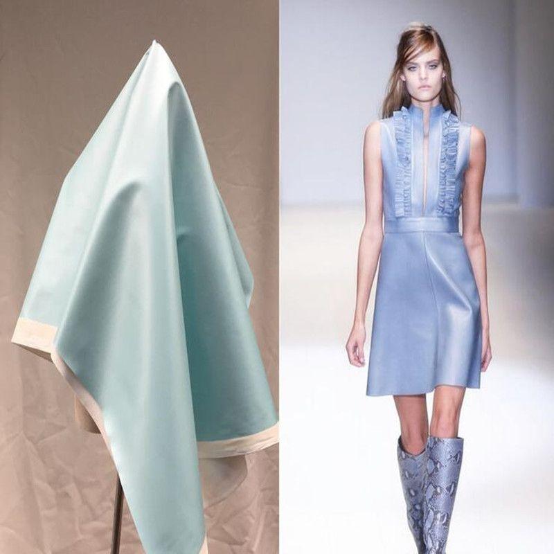 Fluorescent blue pu lether fabric Elastic force magic color laser TPU clothing Waterproof PVC sofa coat diy textiles fabric,D168