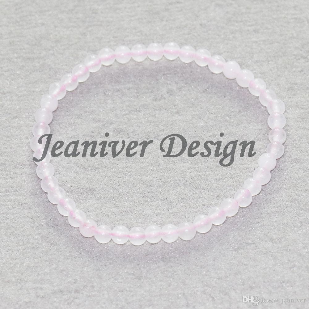 Jeaniver 2019 Quartz Rose z Bracelet 4 mm Bracelet de perles de pierre Bracelet Mini Gem Energy Bracelet