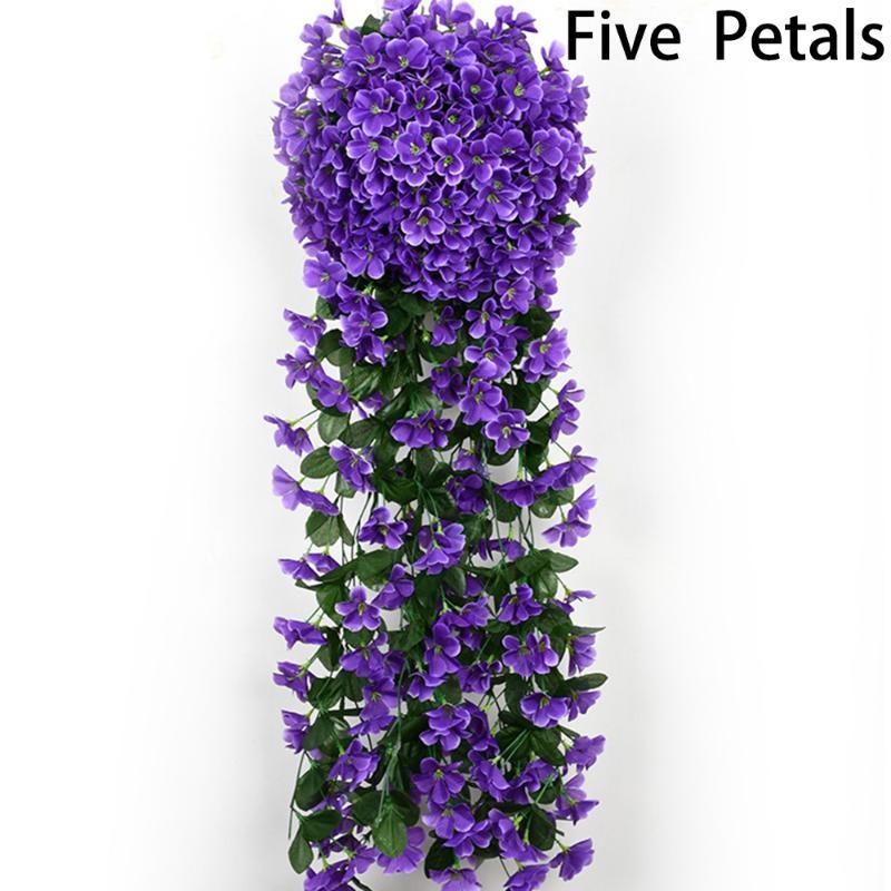 Фиолетовый Искусственные цветы лоза Цветочная лоза висячие Garland завод Home Decor