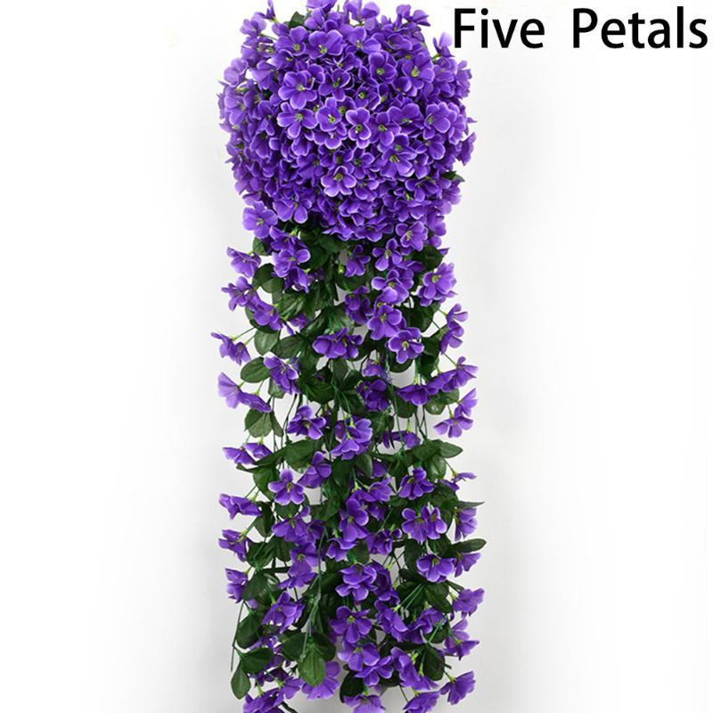 Violet Flowers Artificial Vine Flower Vine Hanging Garland Planta Home Decor