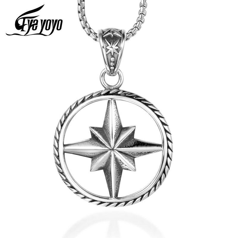 EyeYoYo Titanium jóia de aço Rose Colar Pingente Homens Monogrammed Colar Compass