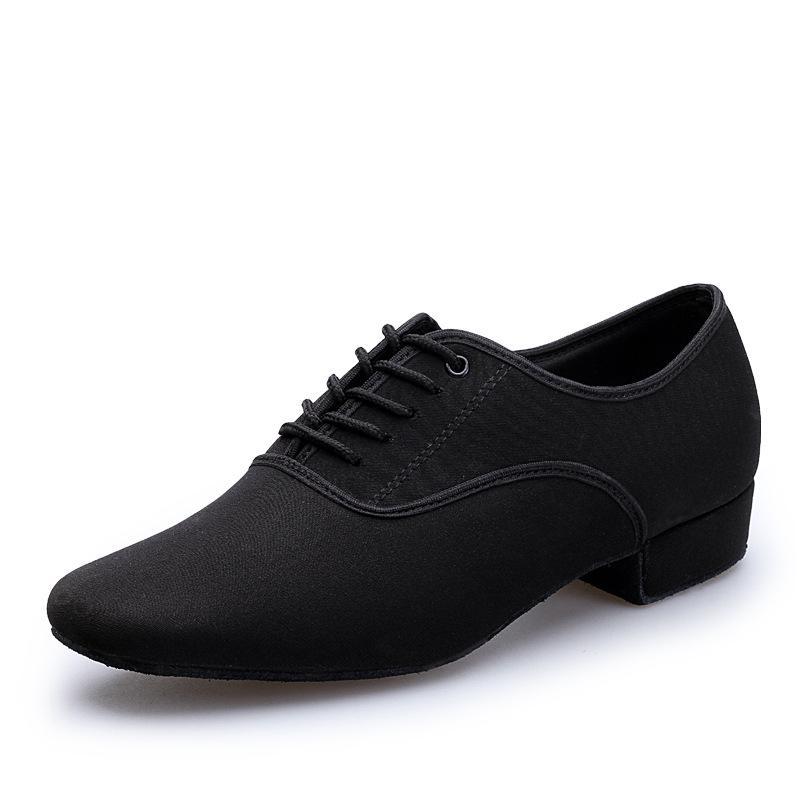 Erkekler Latin Balo Salonu Dans Ayakkabıları Profesyonel Siyah Tuval Latin Salsa Ayakkabı Plus Size Düşük Topuk Tango Balo Salonu Dans Ayakkabıları