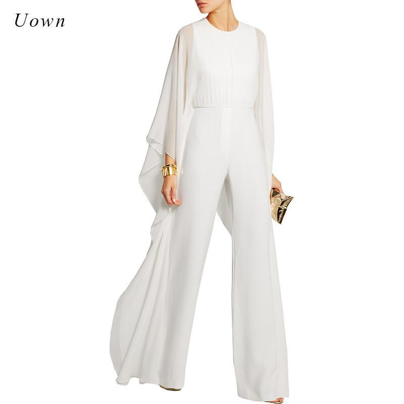 Women Jumpsuits Long Pants Romper Chiffon Ruffle Flare Long Sleeve Party Jumpsuits Black White Wide Leg Jumpsuit Evening Outfits T5190615