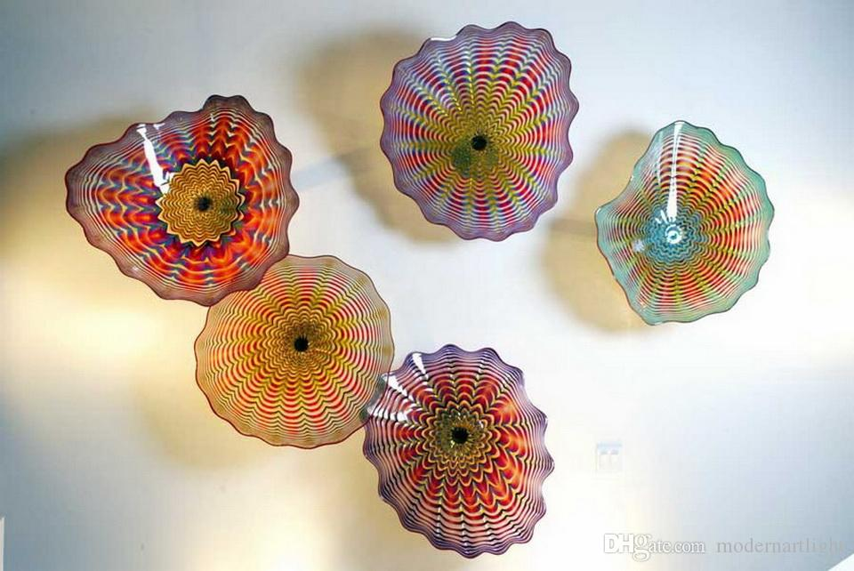 Free Shipping Elegant Artistic Glossy Wall Decor Plates Blown Glass Wall Light Art Dome Ceiling Sculpture