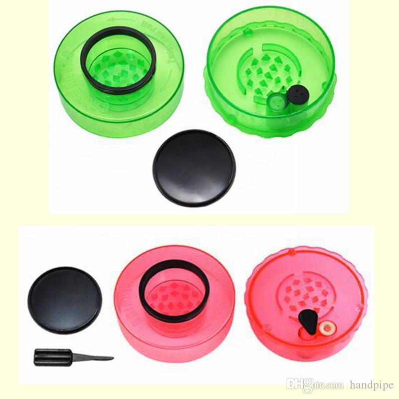 75MM Hard Plastic Herb Grinder Shark Teeth Tobacco Smoking Grinder With Built-in Airtight Vacuum Seal Storage Container Pipe Acrylic Grinder