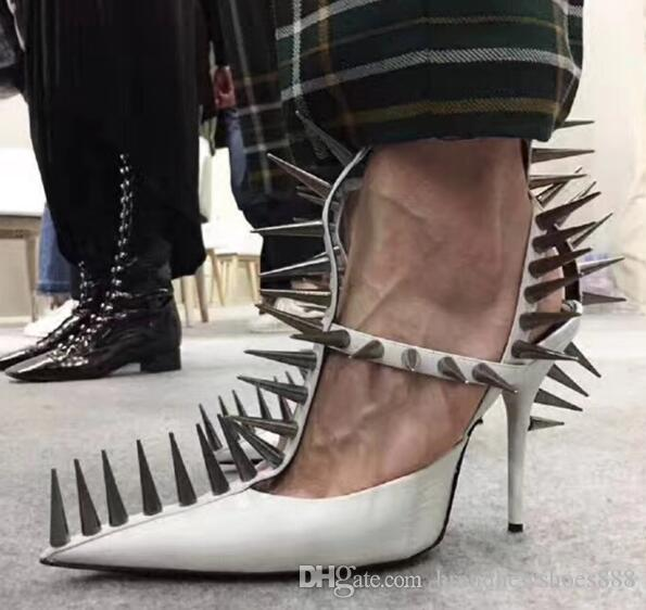 2019 Newest Sharp Rivet Gladiator Sandals Woman Pointed Toe Cut-out Ankle Strap High Heels Shoes Woman Fashion Pumps Black White