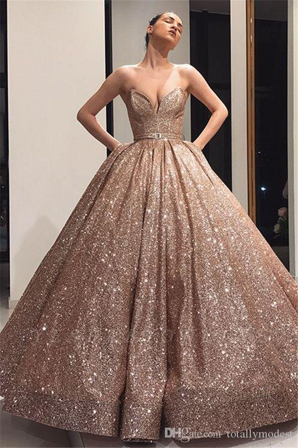 Sparkly Rose Gold Ball Gown Wedding Dresses With Pockets Sweetheart Floor Length Puffy Big Modern Non White Bridal Gowns Couture Custom Made