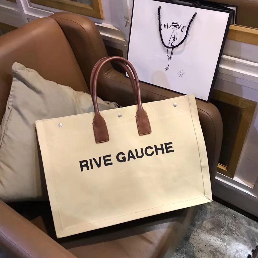 2018 Marken-Frauen-echtes Leder-Handtasche Cabas Slp Rive Gauche Tasche aus grobem Leder Satchel Schulter-Einkaufstaschen Außentasche