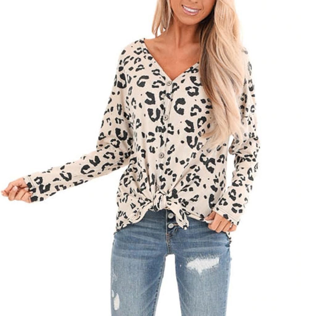Мода Leopard Кнопка Блуза Повседневная Весна Зима Дама Sexy V-образный вырез Туника Топы Женщина Женщина с длинным рукавом рубашкой Blusas пуловера