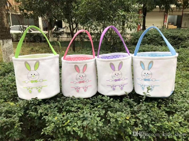 Easter Basket Canvas Easter Rabbit Baskets Bunny Ears Buckets Rabbit Tail Pail Latest Easter Eggs Hunt Bag Kids Handbags
