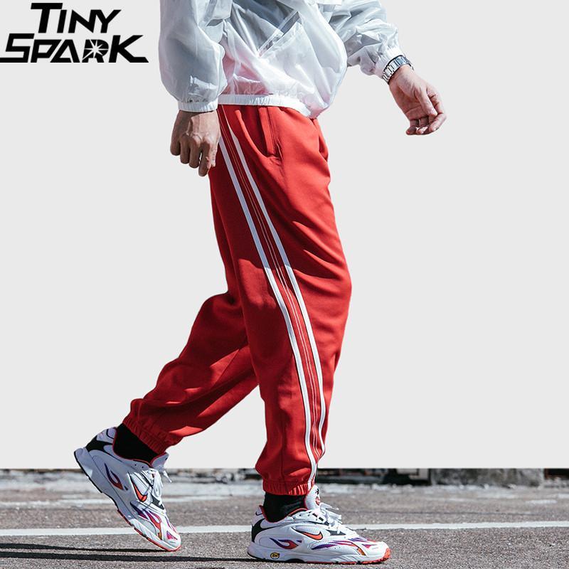 2019 Hip Hip Men Jogger Pant Harajuku Sweatpant Streetwear Red Stripe Track Pants Ankle Sweat Trousers Fashion Spring Harem Pant
