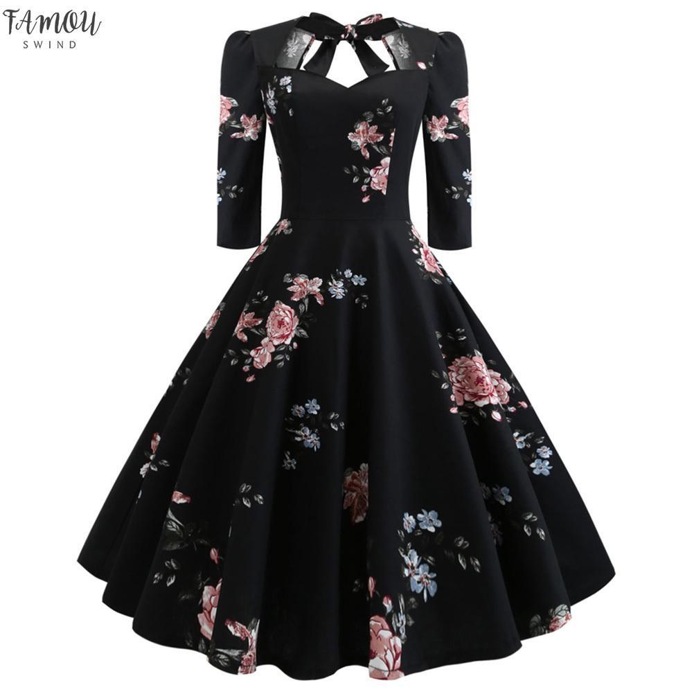Del amor del vestido atractivo de las mujeres del cuello de la vendimia Pin encima de la oscilación floral medias mangas del Bowknot Vestidos vestido de noche del partido del Rockabilly