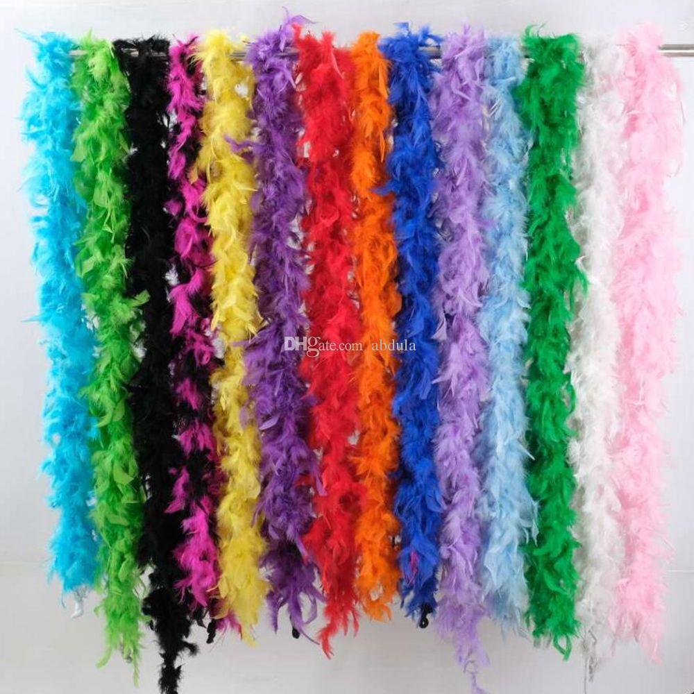 Las plumas del traje de plumas Boas Partes de la pluma blanca de la boa boa de plumas de lujo del partido accesorios de vestir Turquía Chandelle Boas muchos colores Availa