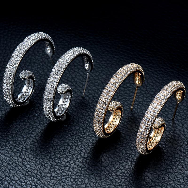 HIBRIDE pleine Micro Pave zircons Pierre Superbe Blanc / Or Couleur CZ Cristal Femmes Boucles d'oreilles Pendientes mujer moda 2020 E-863