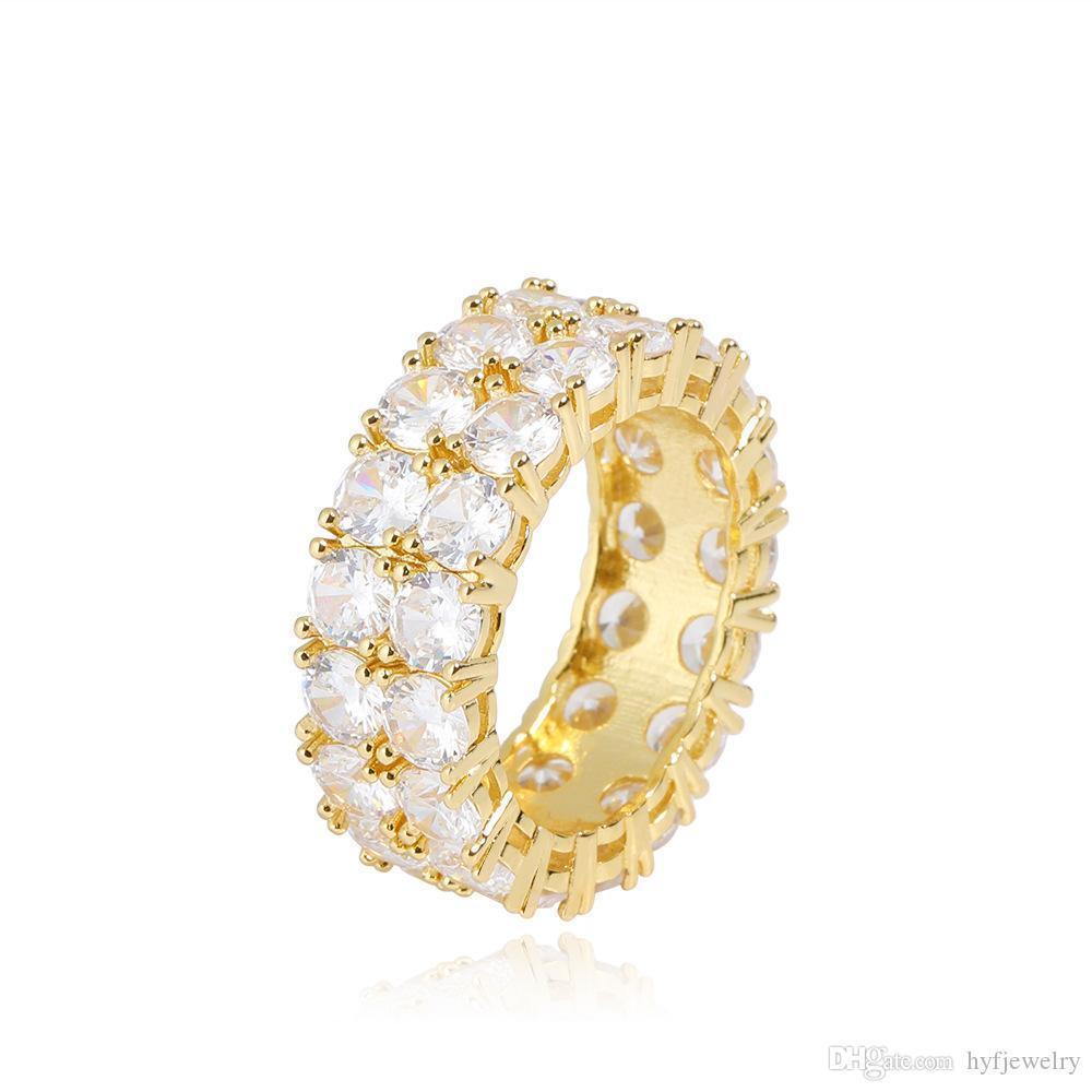 힙합 반짝 더블 레이어 화이트 지르코니아 블링 링 18K 진짜 금 도금 여성 남성 손가락 반지 고급스러운 다이아몬드 랩 링