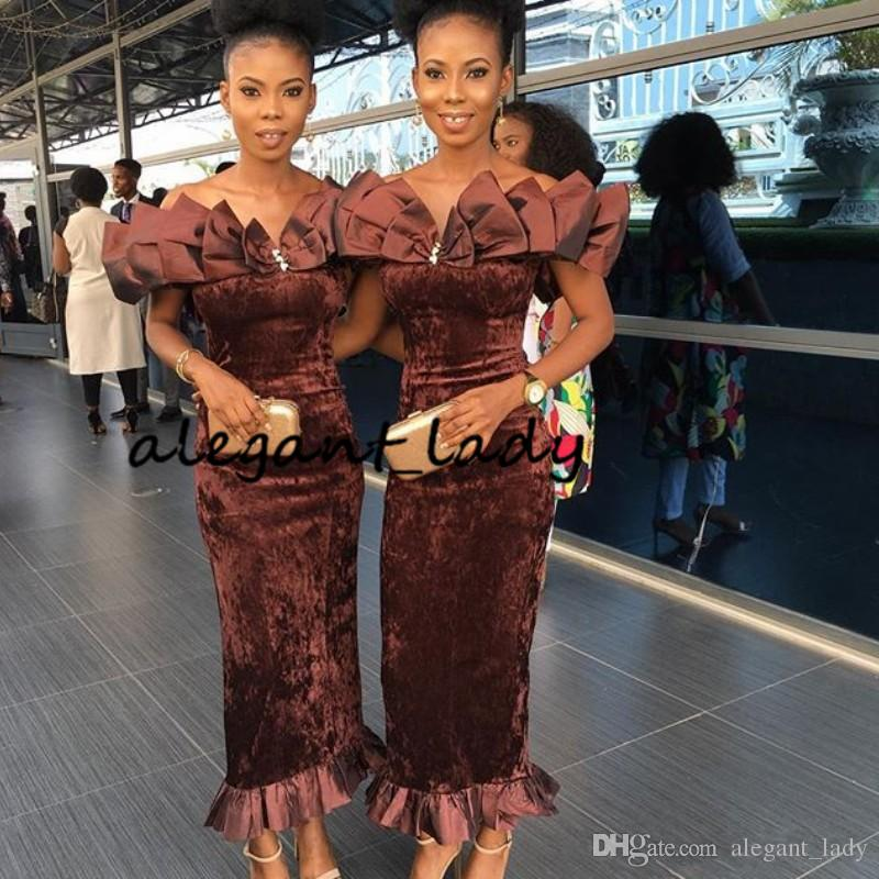 Brown Velvet Mermaid Bridesmaid Dresses with Bow 2019 Sexy Ankle-length Ruffles Off Shoulder Maid of Honor African Nigeria Wedding Guest Gow