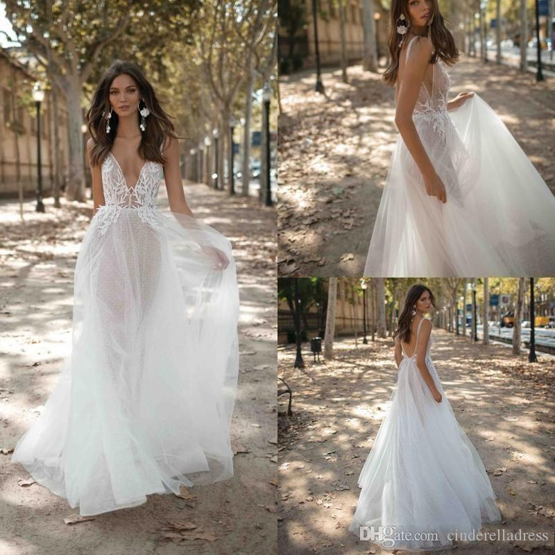 2020 New Country Bohemian Wedding Dresses Long Spaghetti V-Neck Backless Lace Tulle Bridal Gowns Breta Boho Wedding Dress Vestidos De Novia