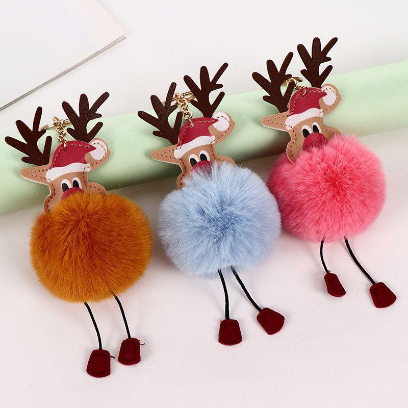 Пом англичане брелок Рождество пушистика брелок Снеговик Санта-Клаус автомобиля кольцо для ключей или сумка украшения