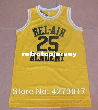 OF The Fresh Prince 25 Maillots de basket-ball Carlton Banks BEL-AIR BEL AIR Cinéma Académie Vêtements (Sitcom TV) Noir Jaune Ncaa