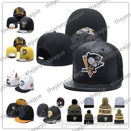 Pittsburgh Penguins-Eishockey-Strickmützen-Stickerei-justierbarer Hut gestickte Hysteresenkappen Schwarz-Gelb-Weiß genähte Hüte