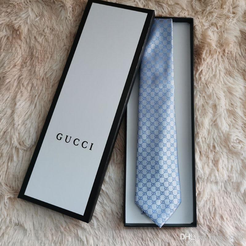 2019 alta calidad ocasional estrecho lazo G7003 17 estilo de los hombres 100% caja de regalo marca corbata de seda clásica edición de lujo