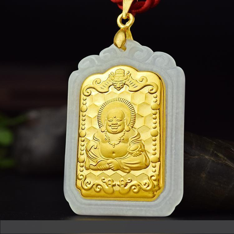 Вставные нефриты вставные нефриты хэтянь нефрит Гуаньинь Будда кулон ожерелье кулон с мужчинами и женщинами