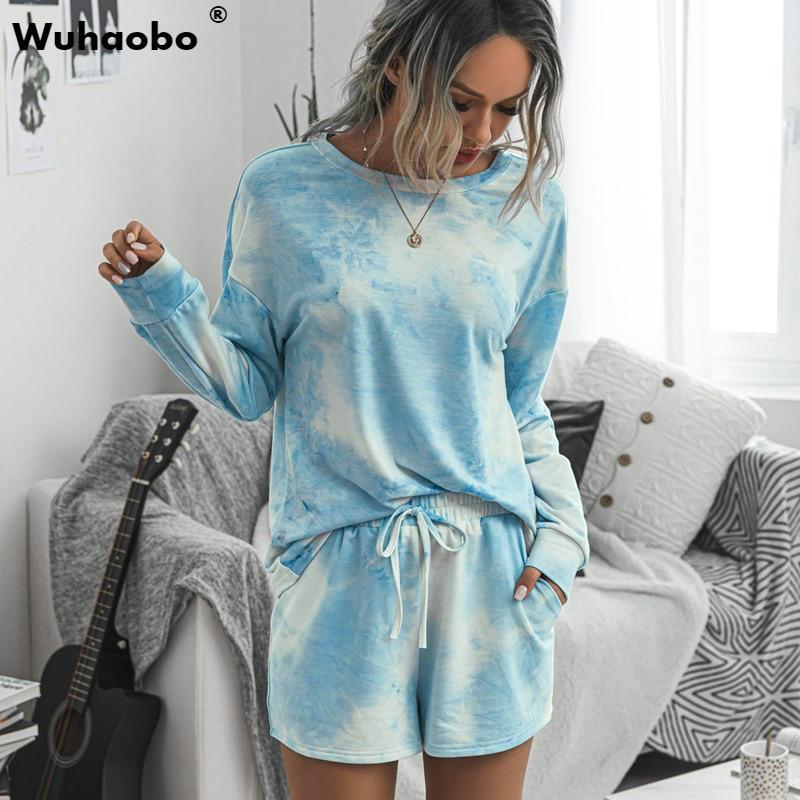 Wuhaobo donne di conforto Home Abbigliamento tie-dyed Stampa set di 2 pezzi a maniche lunghe parti superiori di modo e coulisse Shorts Casual Insiemi femminili