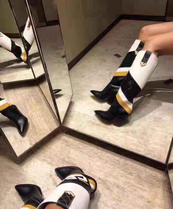 Designer Apontado Toe Mulheres sobre o joelho botas Estranho sapatos de salto alto Outono Inverno Imprimir Sapatinho Passarela Mulher botas longas