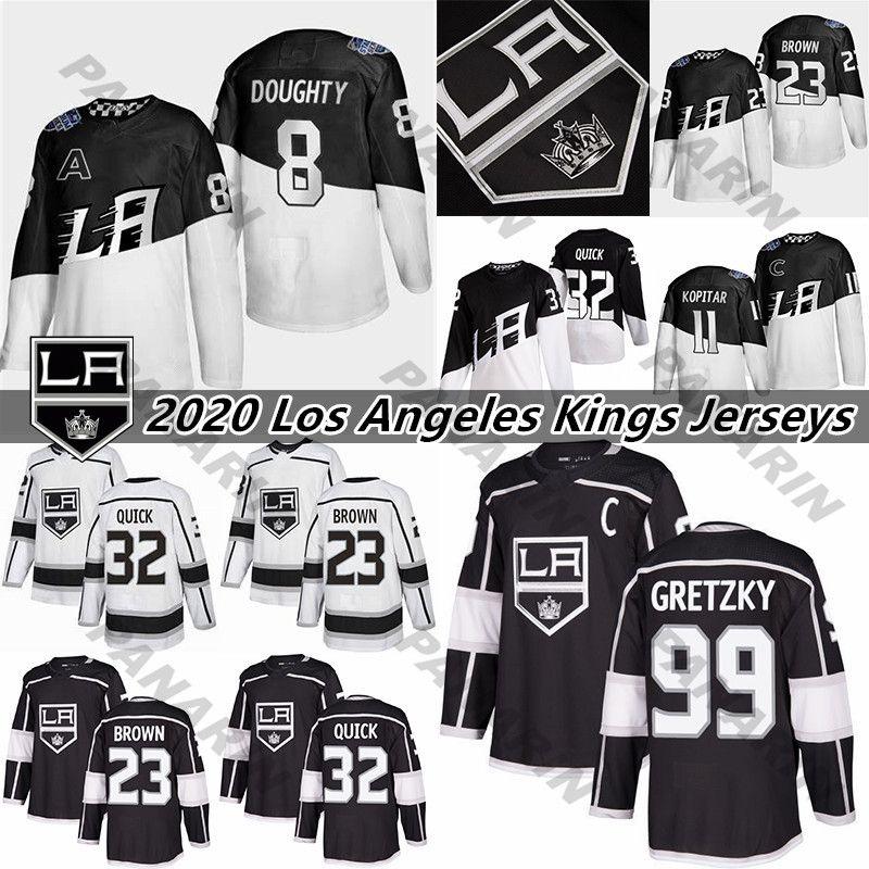 Los Angeles Reis 11 Anze Kopitar 32 Jonathan Quick 8 Drew Doughty 99 Wayne Gretzky Stitched Black Hockey Jerseys