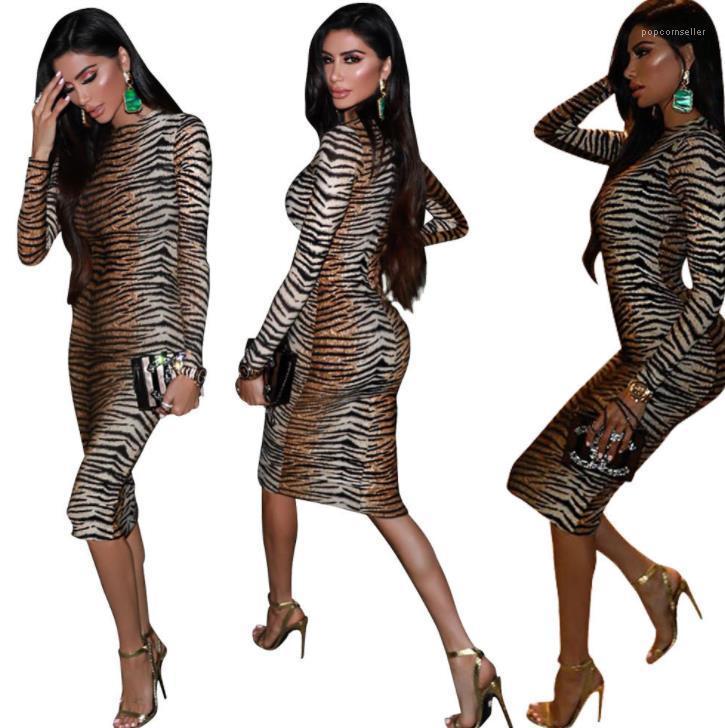 Vestido de ropa de las mujeres del otoño del resorte vaina Manga larga vestido bodycon Vestidoes Diseñador leopardo