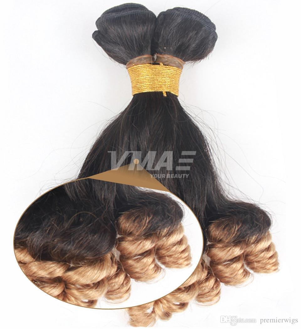 VMAE unprocessed ombre 1b 27 anuty Funmi hair bouncy curls wave Brazilian virgin human hair 3 bundle weaves Hair extentions