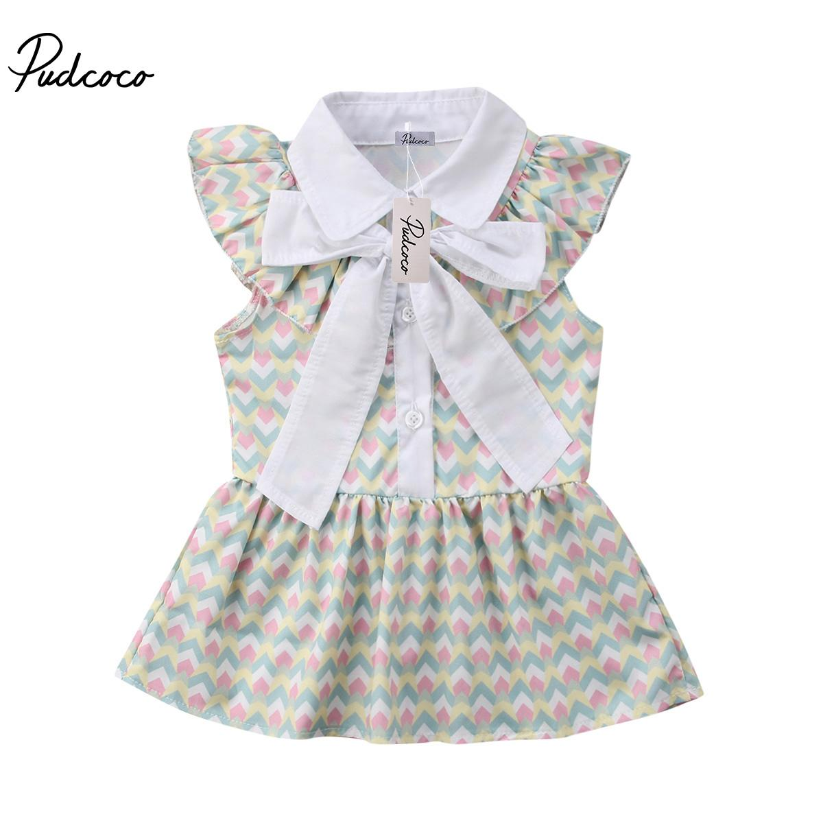 2018 Tout-petits enfants Baby Girls Party bowknot Pageant manches Tutu Dress Sundress Vêtements Robes 1-6Years