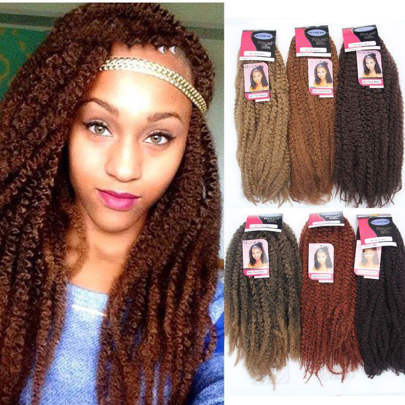Afro Culry Marley Tranças Twist Crochet Trança Cabelo Cor Preto Marrom Blonde Ombre Borgonha Kanekalon Sintético Kinky Curly Cabelo Extensões